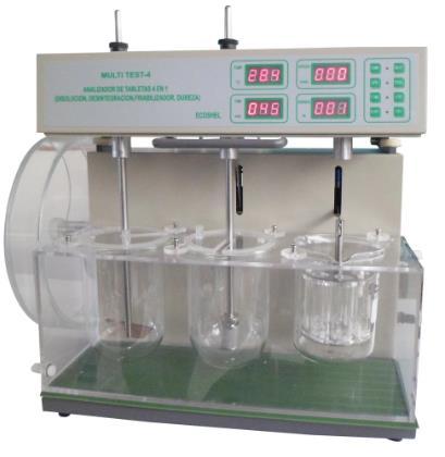 Puede realizar pruebas de desintegracion, friabilidad, disolucion y dureza. Rango de temperatura: 20-45°C. Velocidad: 20-200 rpm. Tiempo: 1-900 min