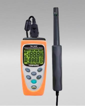 Simultáneamente mide la temperatura y humedad. tanto máximo como lecturas mínimas y medias (MAX / MIN / AVG). Rangos 0 ° C ~ + 60 ° C. 1% ~ 99% R