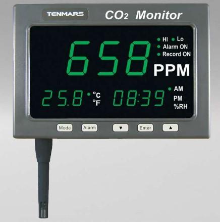PUEDE MONTARSE EN UNA PARED O SENTARSE EN UN ESCRITORIO. RESOLUCION: 1 PPM, 0.1% DE HR, 0.1°C, 0.1 °F. SENSOR DE CO2: INFRARROJO. ALIMENTACIÓN: ADA