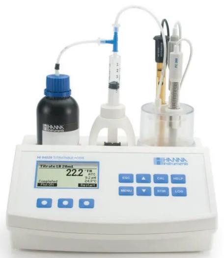 Determina la acidez titulable como ácido láctico en %LA y un factor de conversión para otras unidades disponibles. Intervalo bajo: L.A%: 0.01 a 0.2