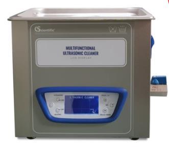 Frecuencia: 40 KHz.  Capacidad: 10 L. Cuenta con función de barrido y función de calentamiento tiene pantalla LCD. Temporizador: 1 - 99 minutos. 120
