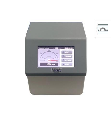 Permite un proceso de destilación repetible y la recuperación de muchos tipos de solventes de manera automática. Opera con bombas de vacío <= 500