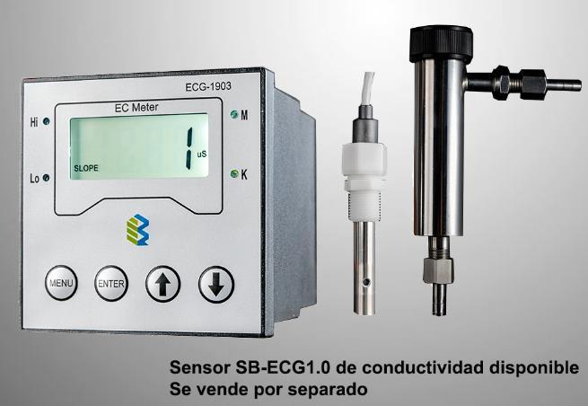 Medidor de conductividad / resistividad industrial en línea. Constante k = 0.01, 0.1, 1.0 o 10. Rango 0.1 uS ~ 19.99MΩ Rango de control 0 ~ 19.99mS