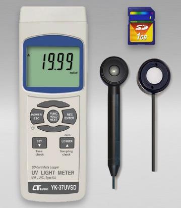 Medida de irradiación ultravioleta de onda corta de 254 nm y larga de 365 nm. Interfaz de computadora USB para PC. Datalogger con memoria SD