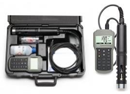 Portátil con capacidad hasta 10 diferentes parámetros de calidad de agua incluyendo 5 medidos y 5 calculados. Carcasa impermeable IP67. Sonda clasif
