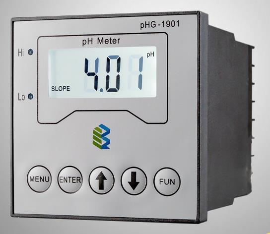 Medidor de pH industrial en línea mide el valor de pH de la solución. Puede usar varios electrodos de Ph. Rango 0 ~ 14.00pH +/- 0.01pH. Salida de 4-
