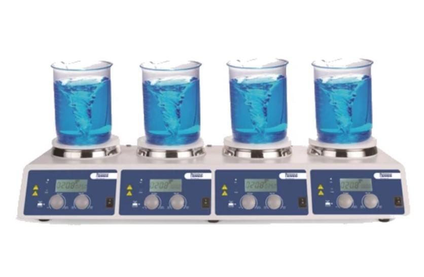Velocidad de agitación: 200 - 1500 rpm. Visualización de la velocidad y temperatura: LCD. Intervalo de temperatura: 25 - 340°C. Platos de Ф134 mm