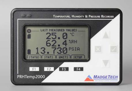Para lecturas remotas inmediatas de parámetros como temperatura, humedad y presión atmosférica. Rangos: -20 ºC to +60 ºC, 0 %RH a 95 %RH, 0 PSIA
