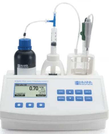 Los resultados se muestran cómo % de ácido cítrico, tartárico y málico. Intervalo bajo: g/100 mL como ácido cítrico: 0.10 a 2.00%. Alto 1.00 a
